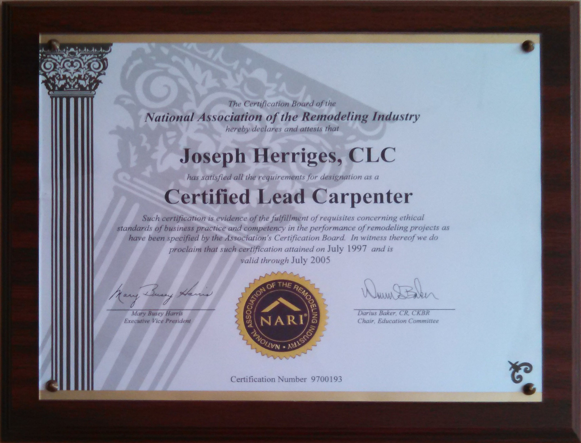 Joe Certified Lead Carpenter