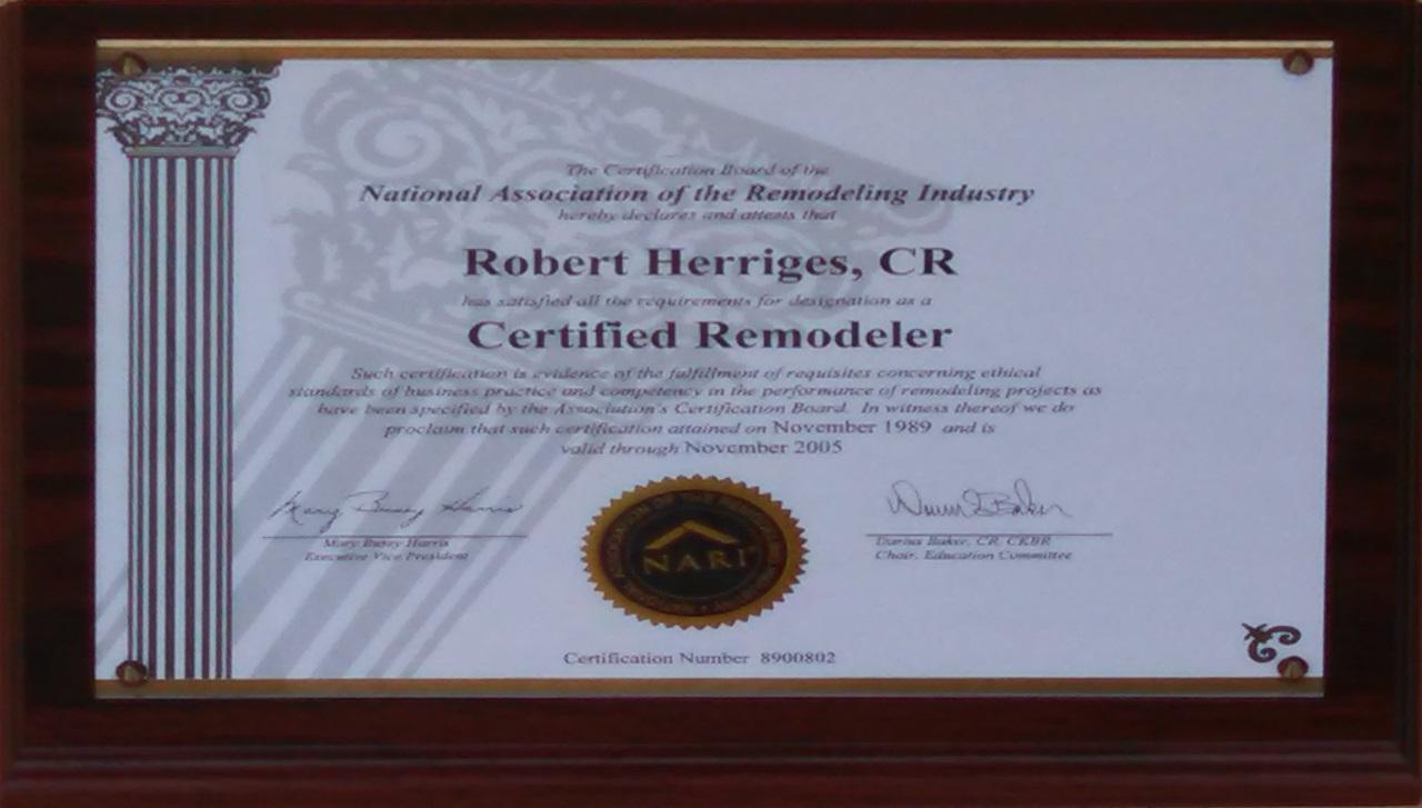 Bob NARI Certification