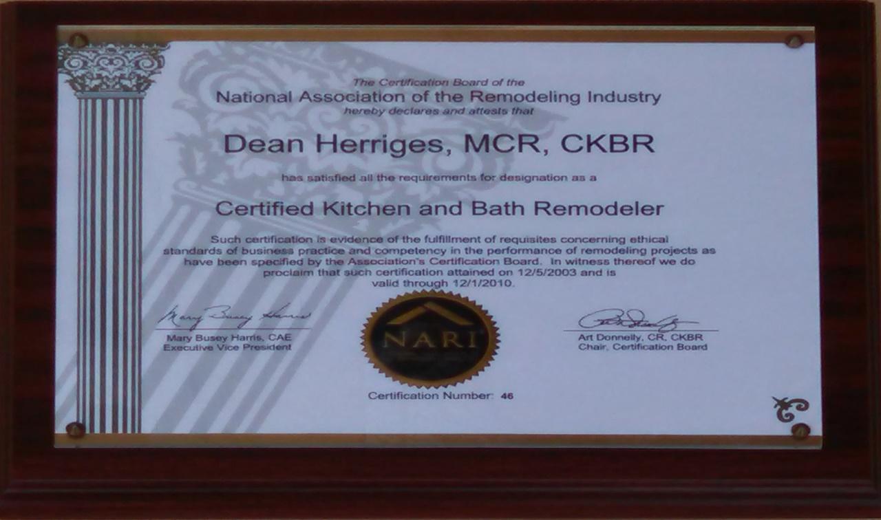Dean Master Certified Remodeler / CKBR